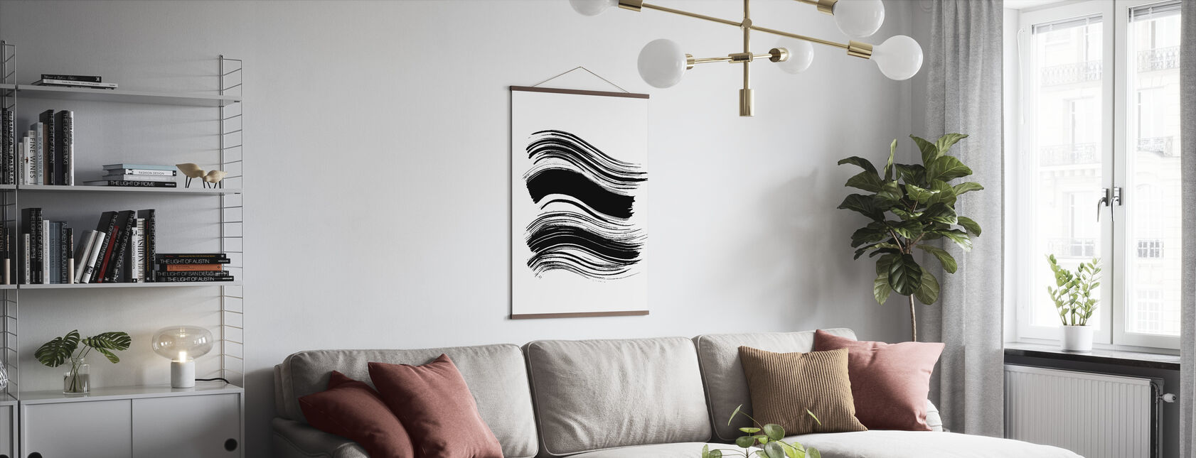 Wave - Charcoal - Poster - Living Room
