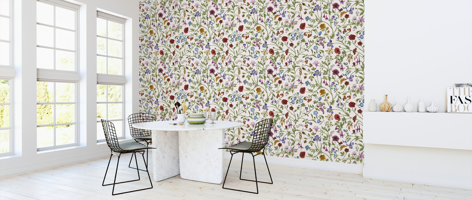 Flora Pattern - White - Wallpaper - Kitchen