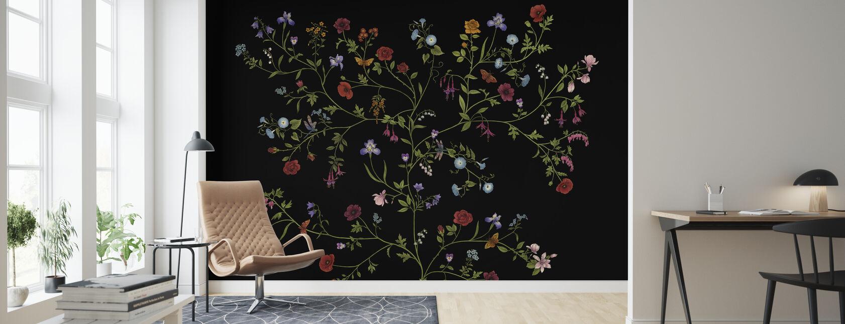 Flora - Black - Wallpaper - Living Room