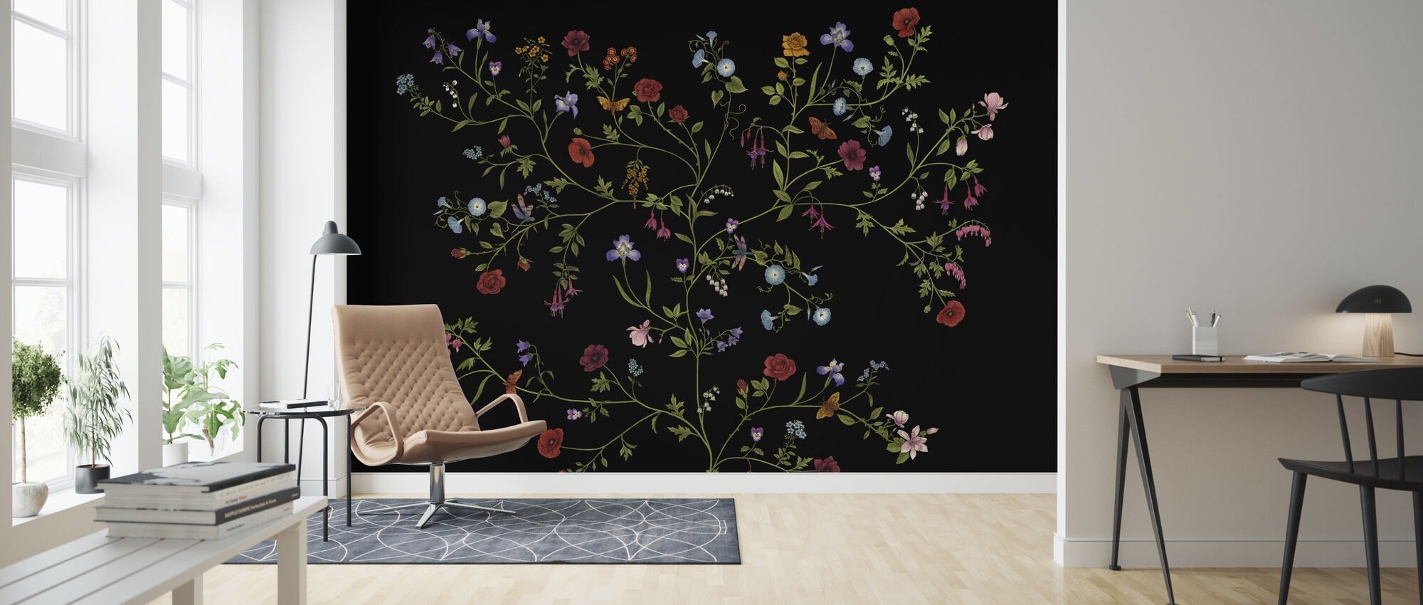 Flora - Black - Wallpaper - Living Room