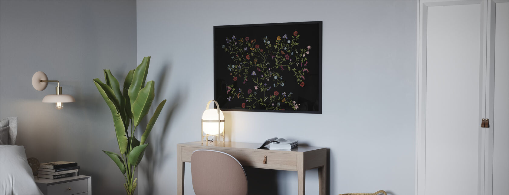 Flora - Zwart - Ingelijste print - Slaapkamer