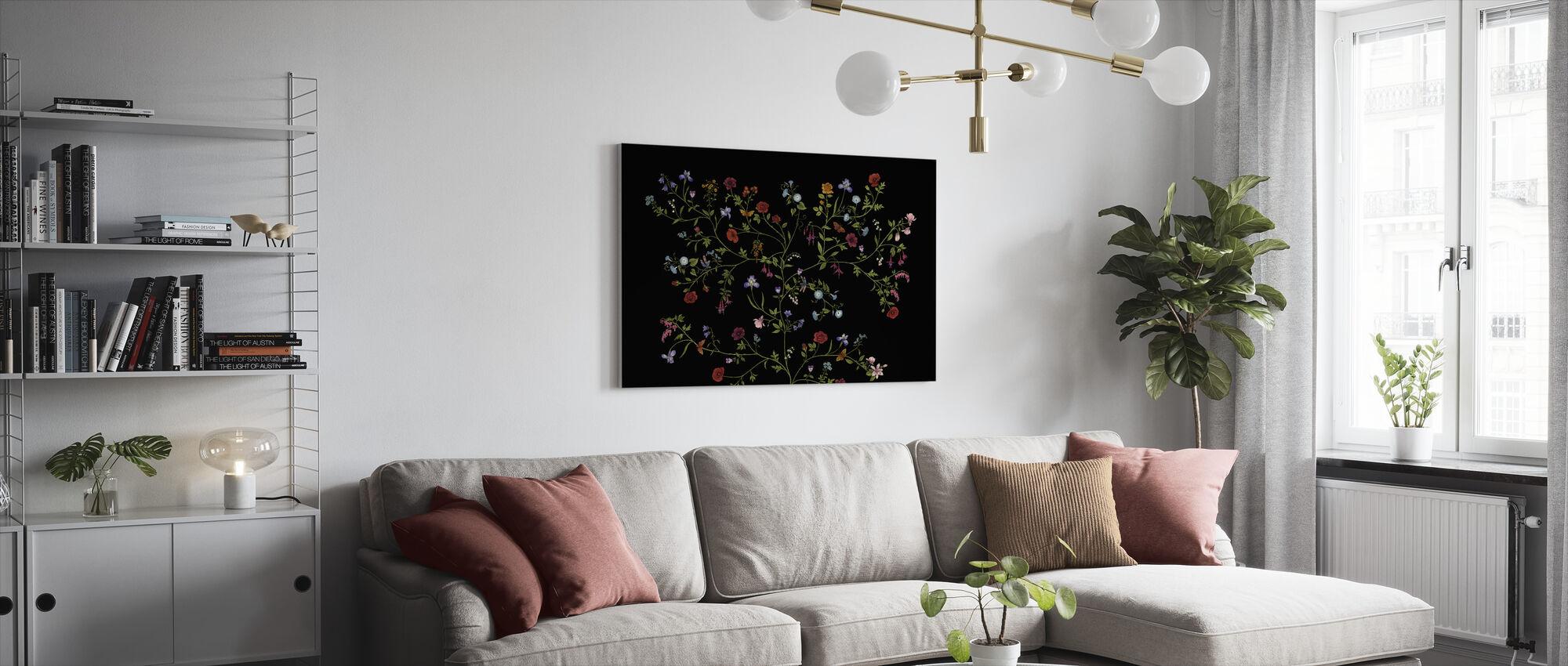 Flora - Musta - Canvastaulu - Olohuone