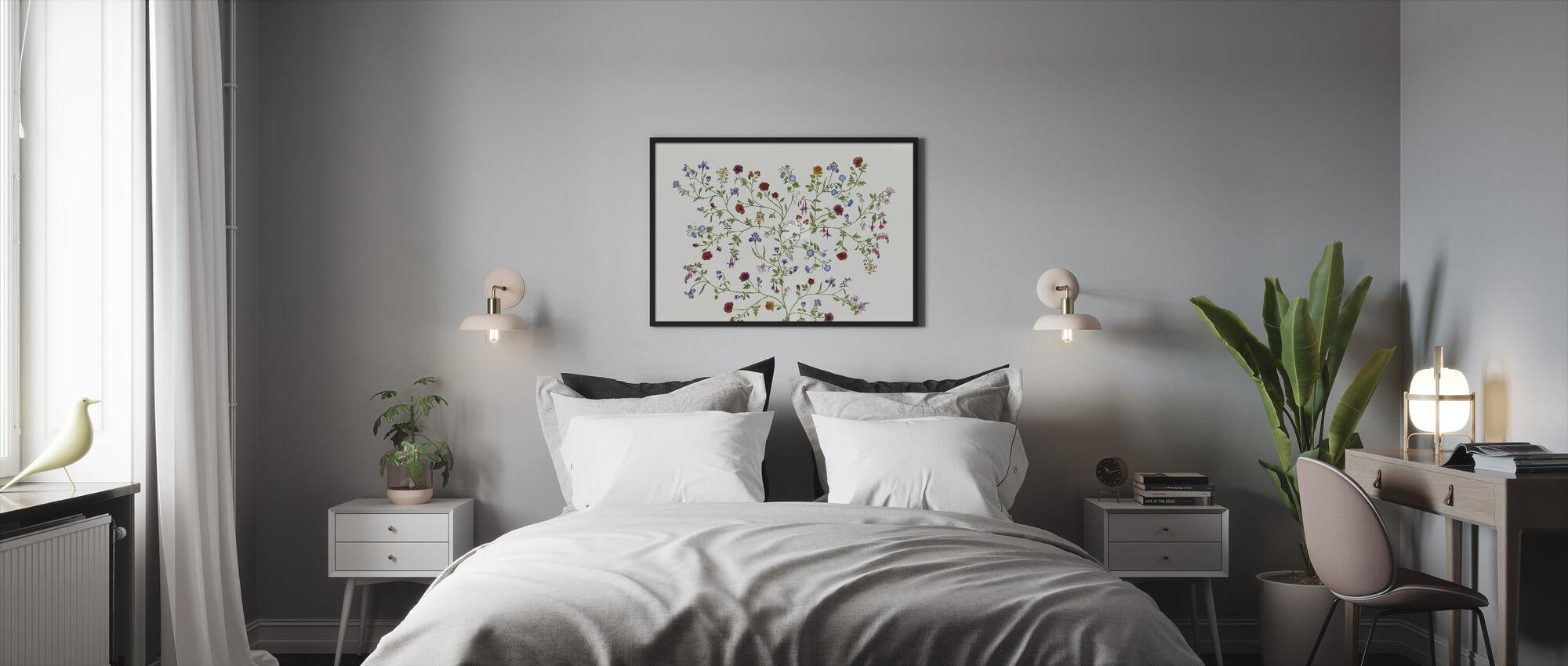 Flora - White - Framed print - Bedroom