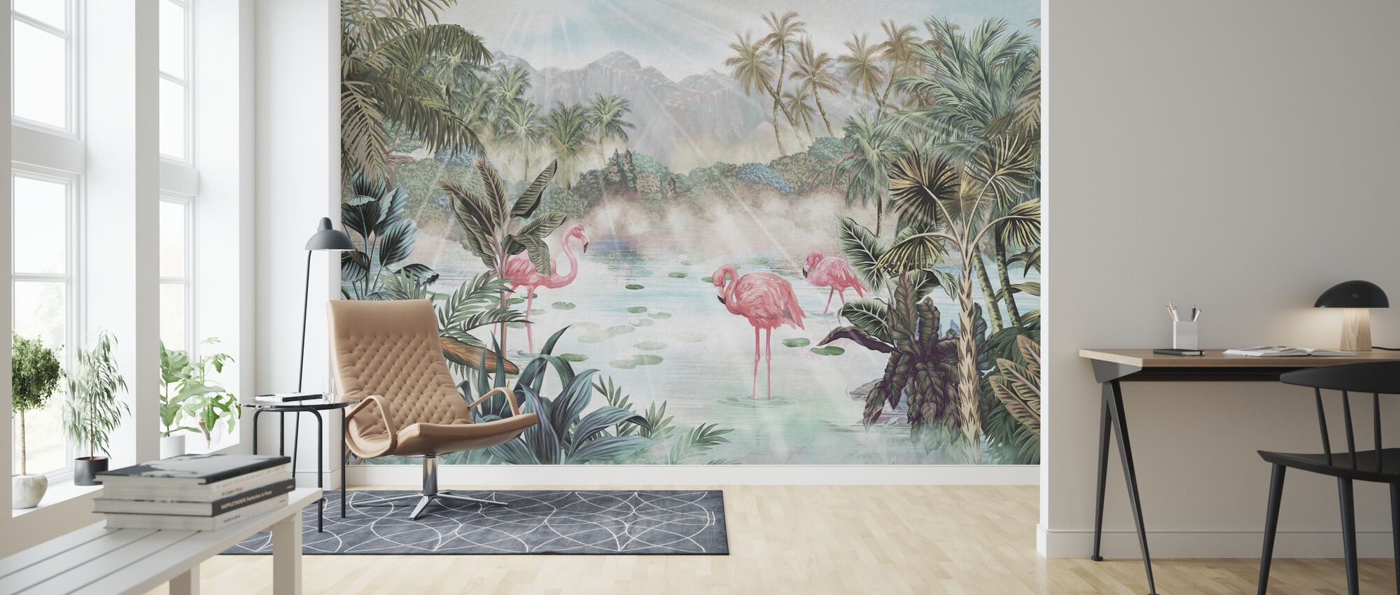 Flamingo Essay - Emerald - Wallpaper - Living Room