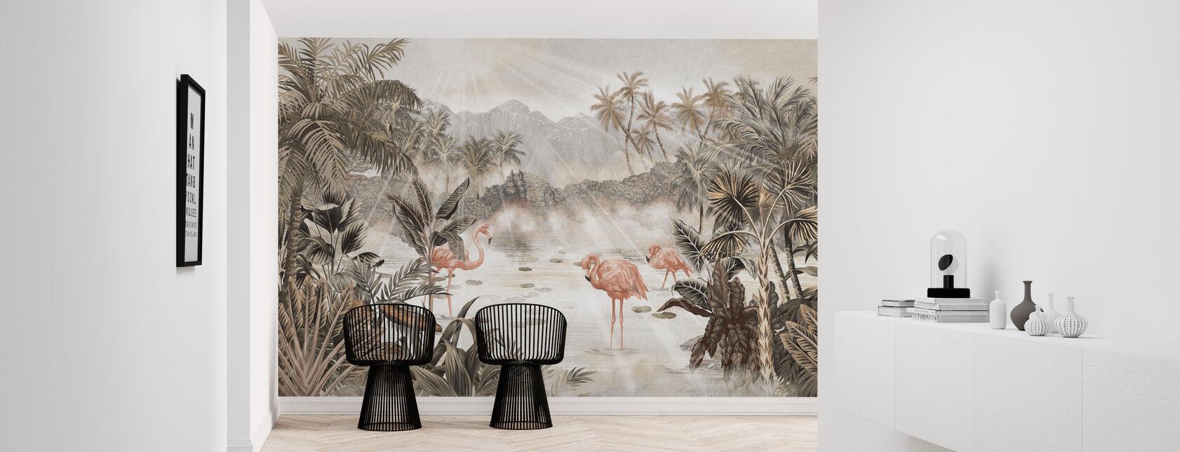 Esej flamingowy - Sepia - Tapeta - Przedpokój