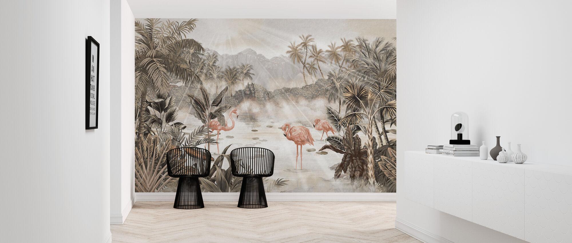 Flamingo Essay - Sepia - Wallpaper - Hallway