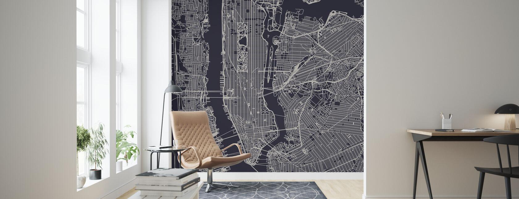 New York Kartta - Tapetti - Olohuone