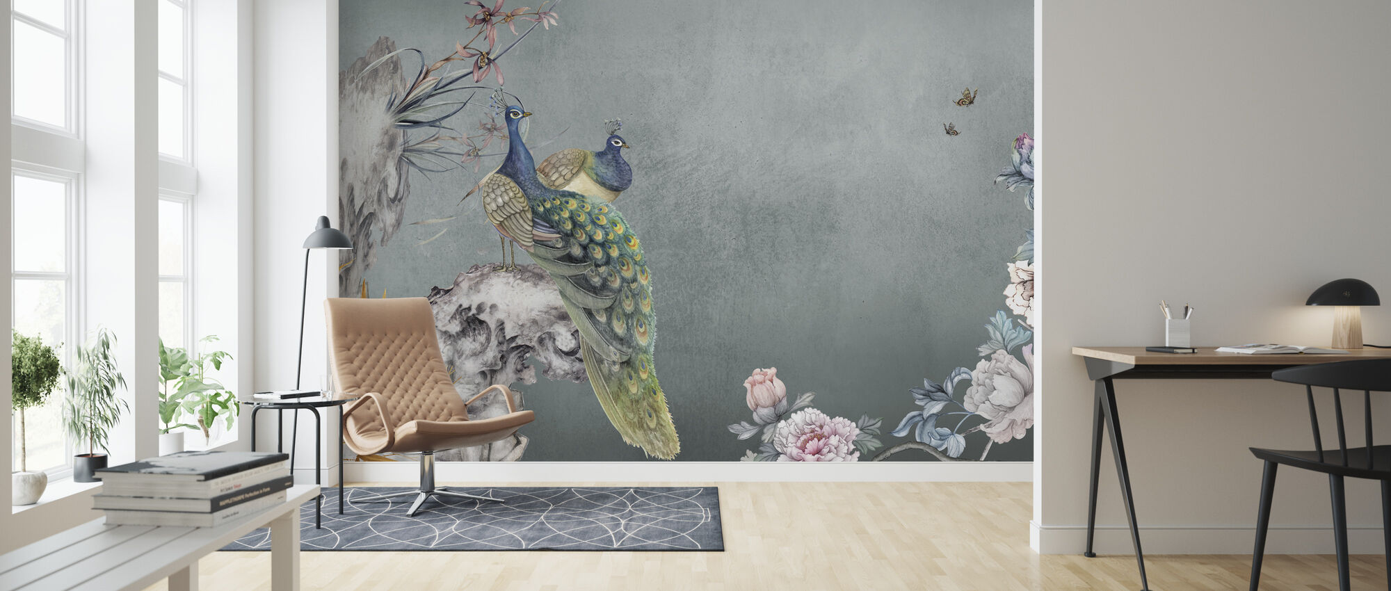 Peacock Mentelle - Wallpaper - Living Room