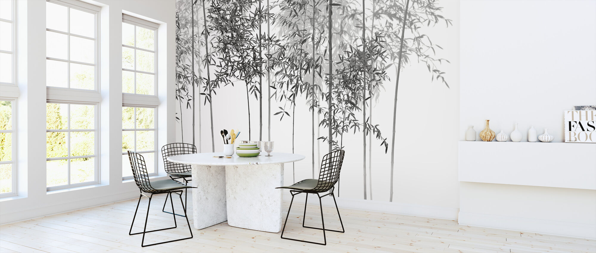 Bamboo Trees View - bw - Wallpaper - Kitchen