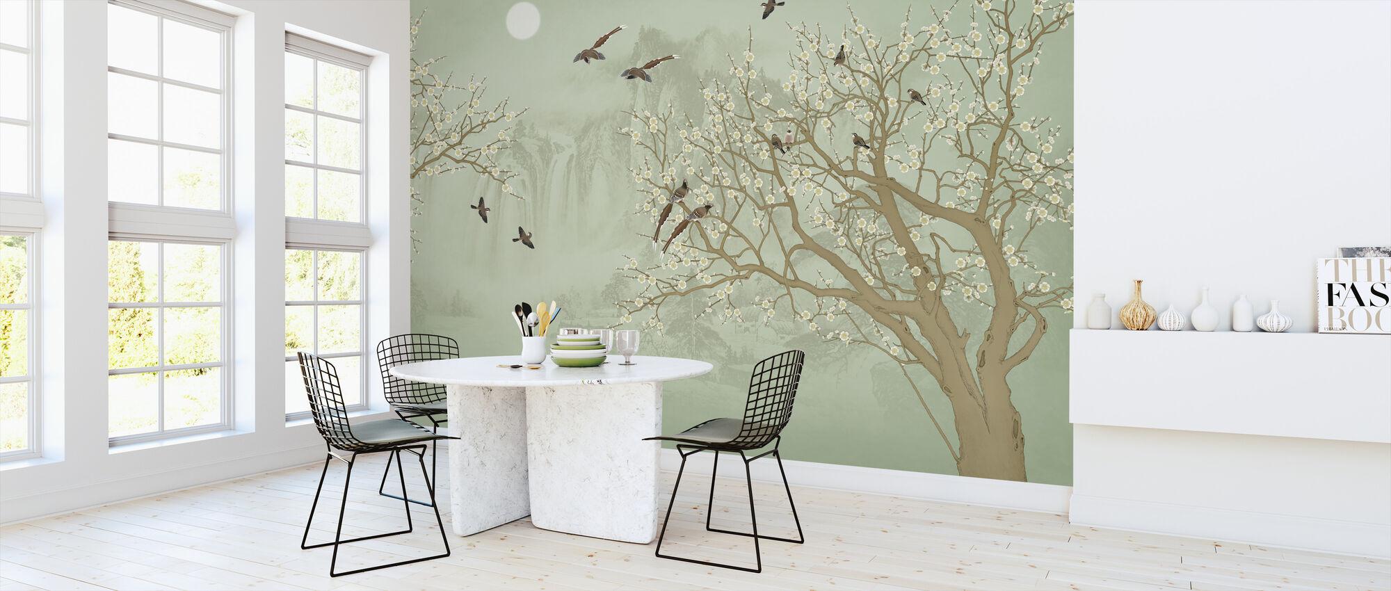 Birds Home - Emerald - Wallpaper - Kitchen