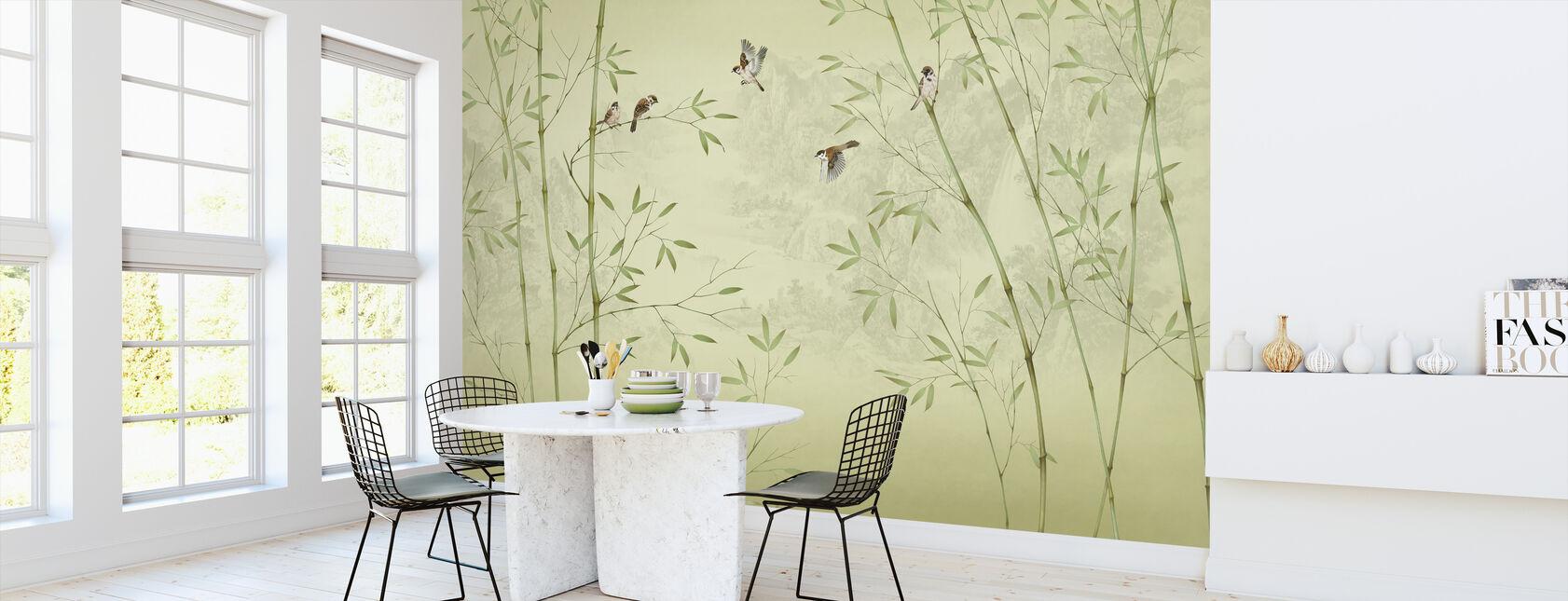 Bambu Linnut - kellertävä - Tapetti - Keittiö
