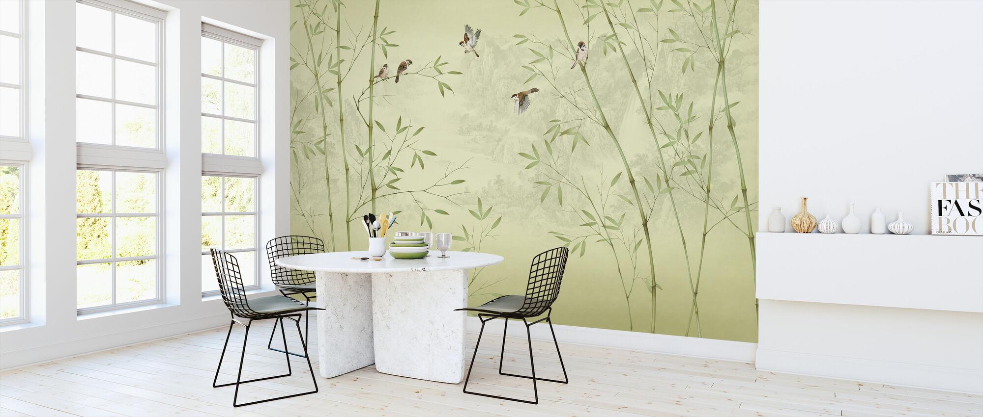 Bamboo Birds - Yellowish - Wallpaper - Kitchen
