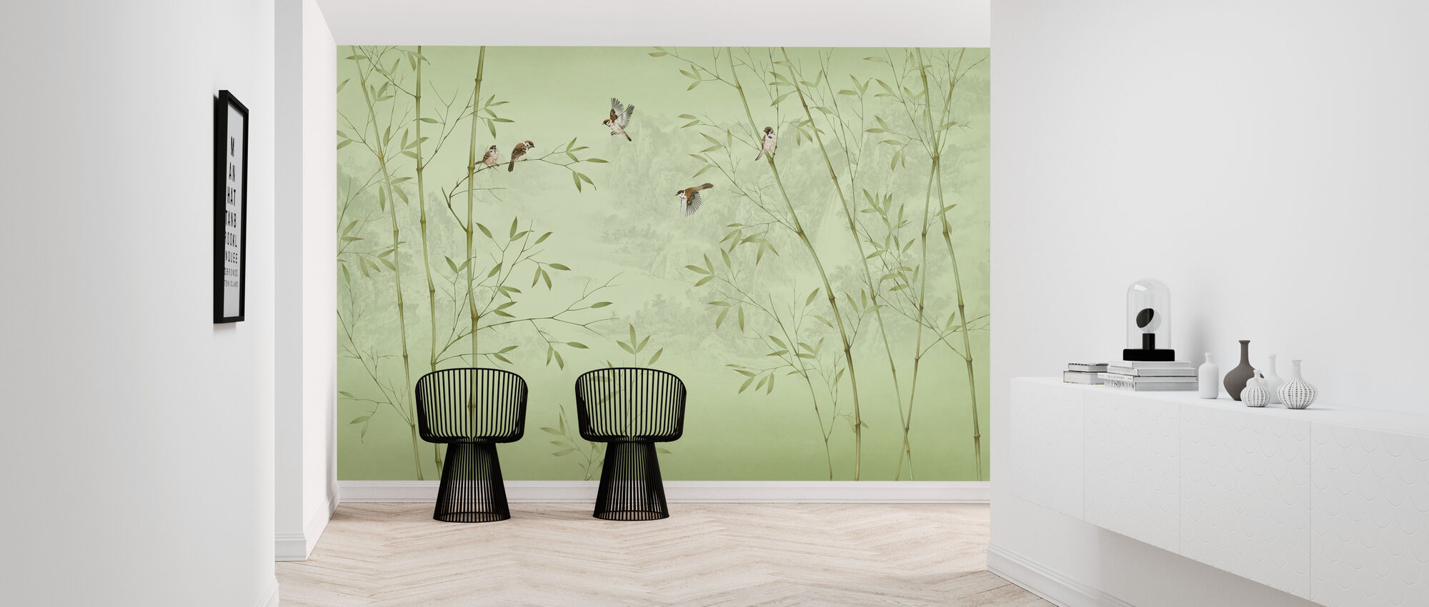 Bamboo Birds -Emerald - Wallpaper - Hallway
