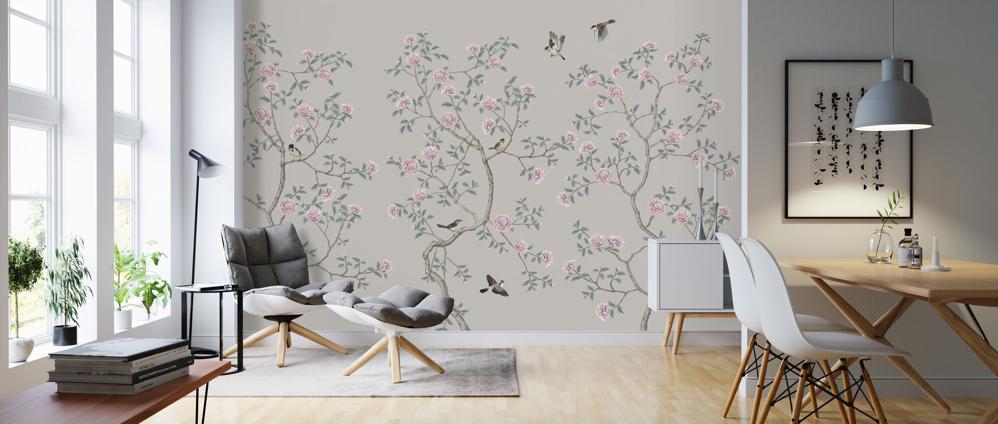 Flowering Chinoiserie Birds - Pearly - Wallpaper - Living Room