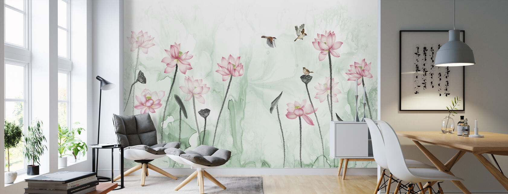 Birds and Flower Garden - Green - Wallpaper - Living Room