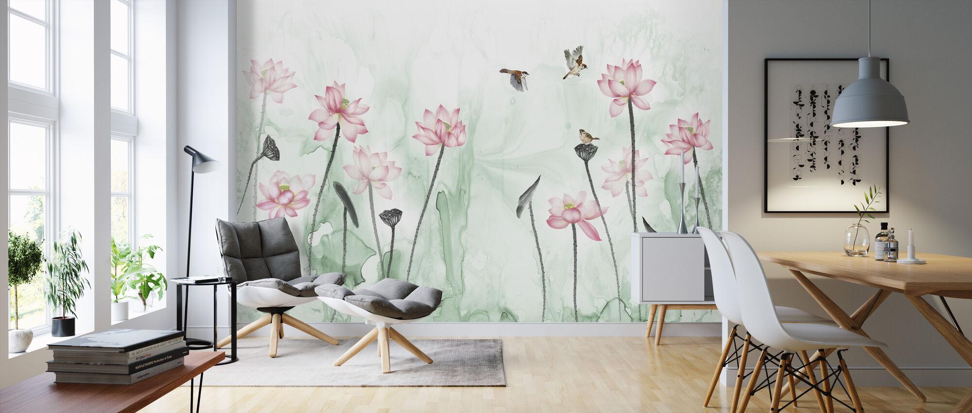 Fugler og blomsterhage - Grønn - Tapet - Stue