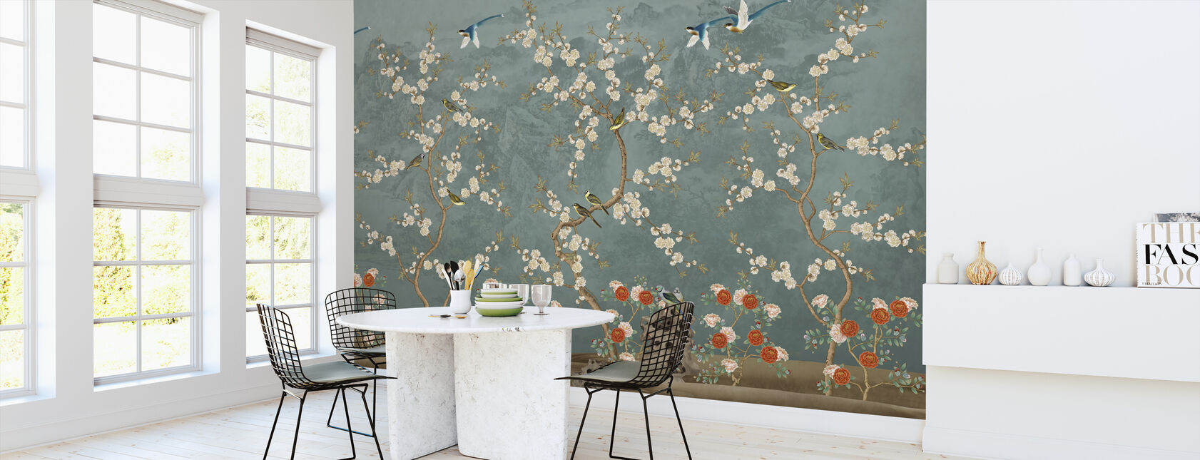 Chinoiserie Garden - Blue - Wallpaper - Kitchen