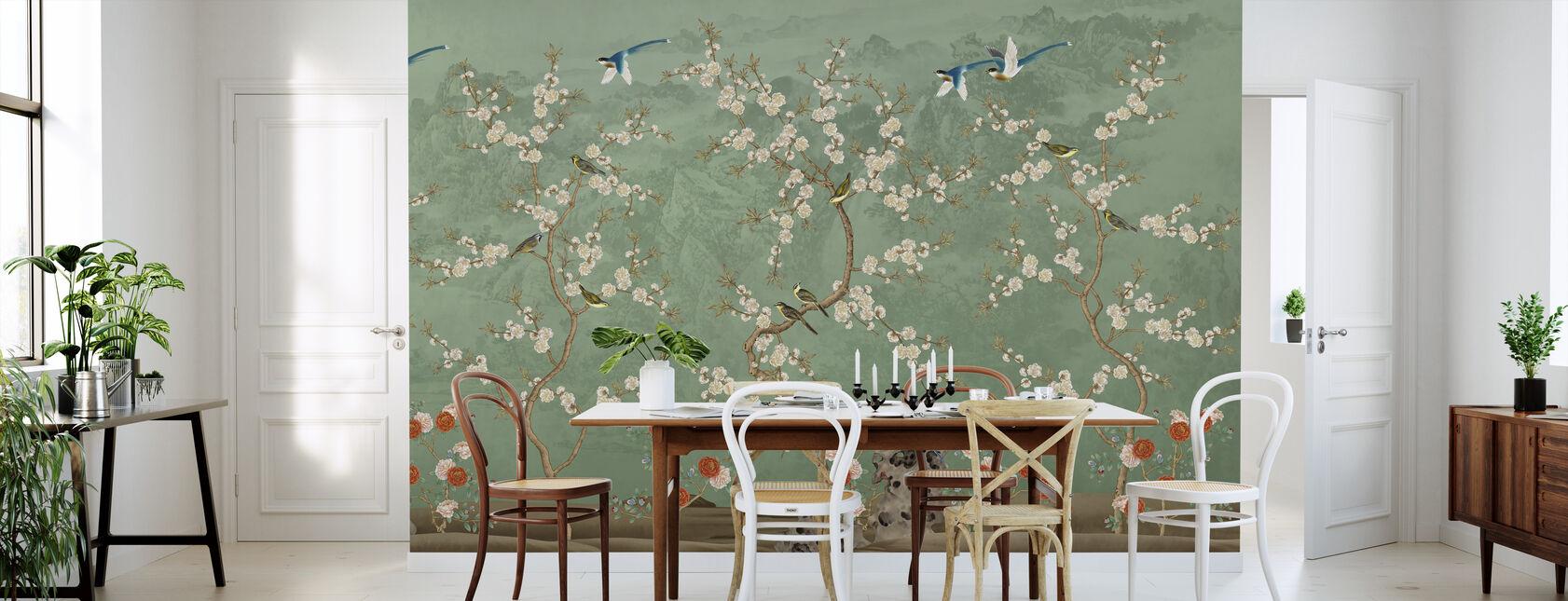 Chinoiserie Garden - Emerald - Wallpaper - Kitchen