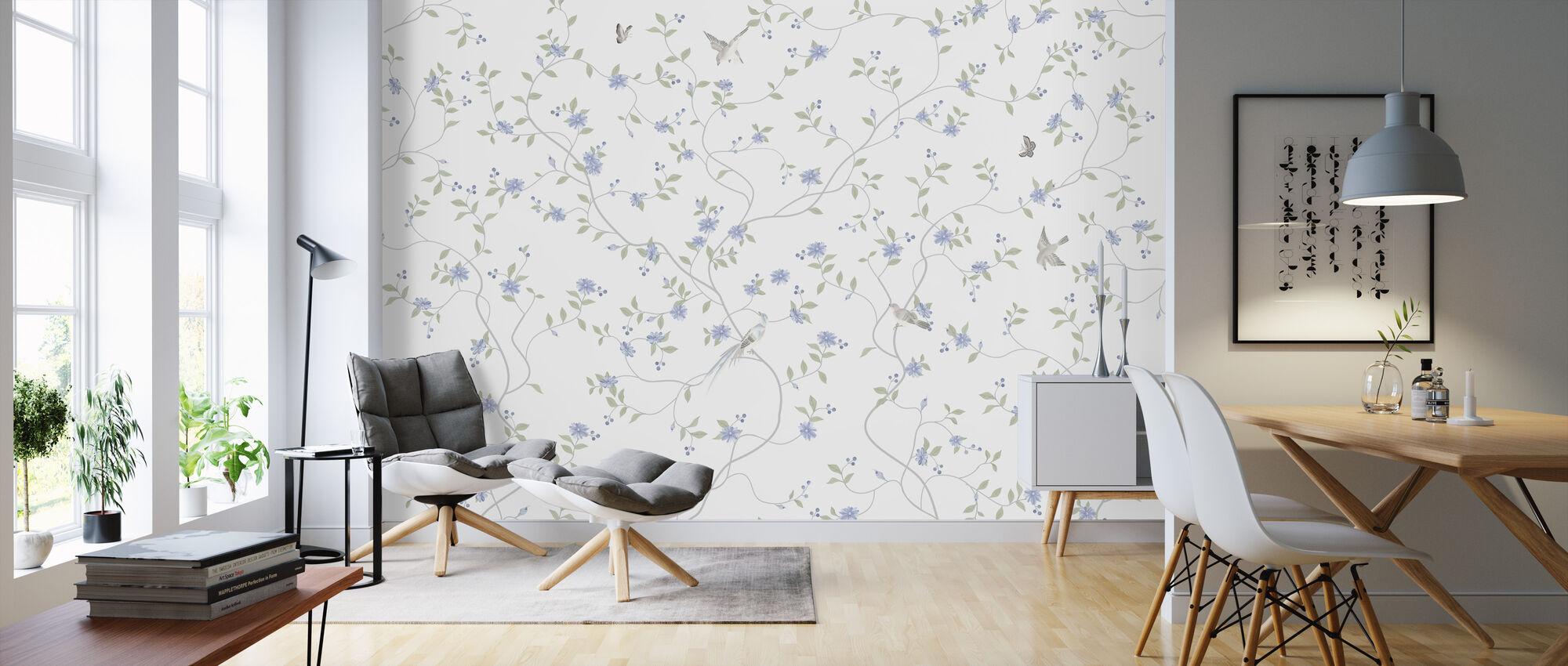 Birds and Flowers Bliss - Wallpaper - Living Room