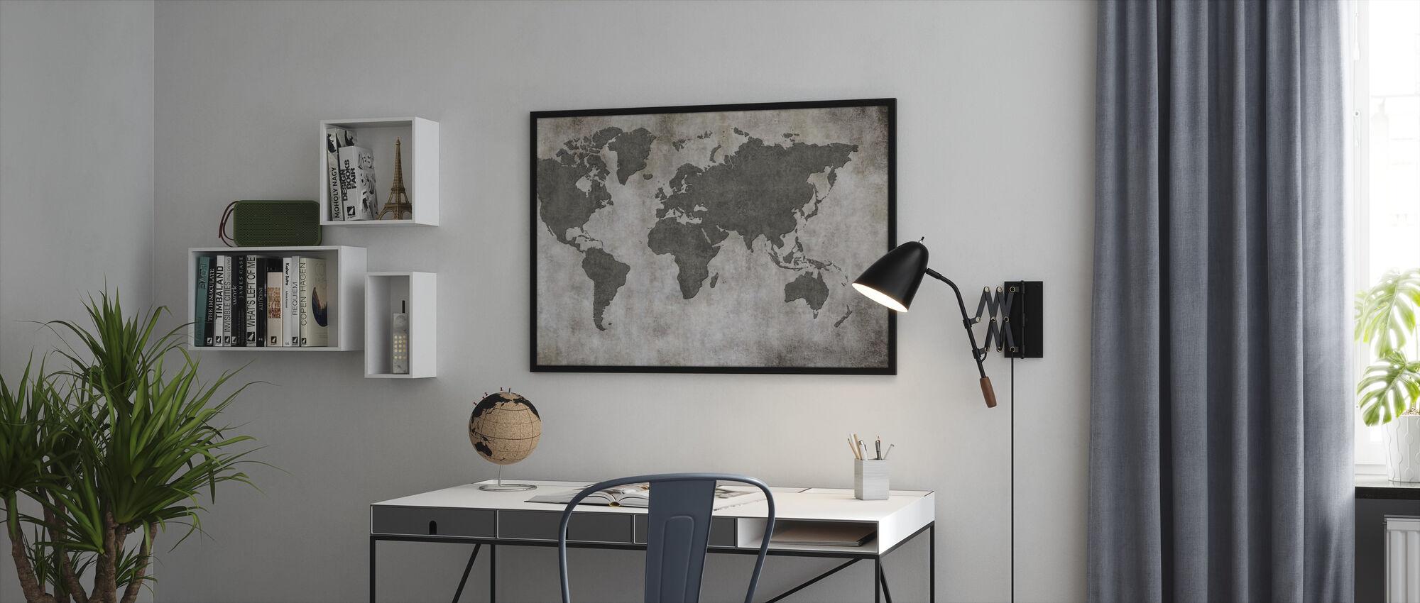 Frynsete Wall World Map - Innrammet bilde - Kontor