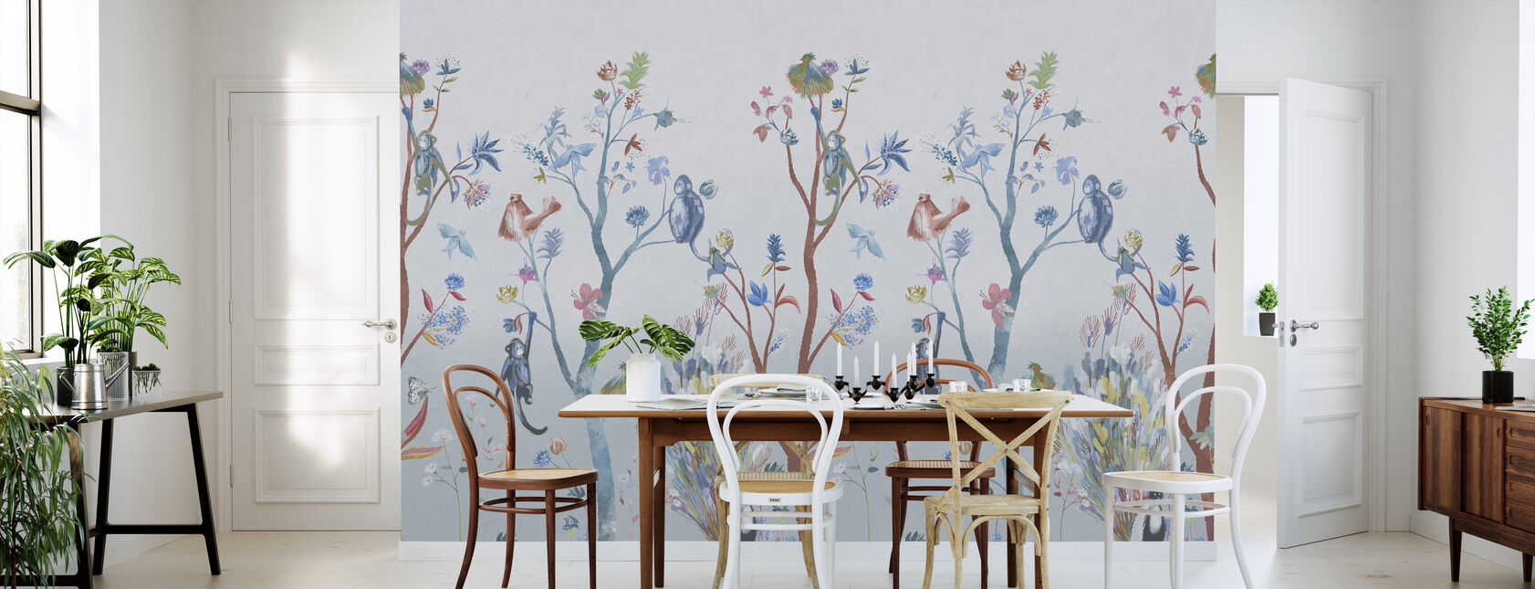 Kitsch Nature - Blue - Wallpaper - Kitchen