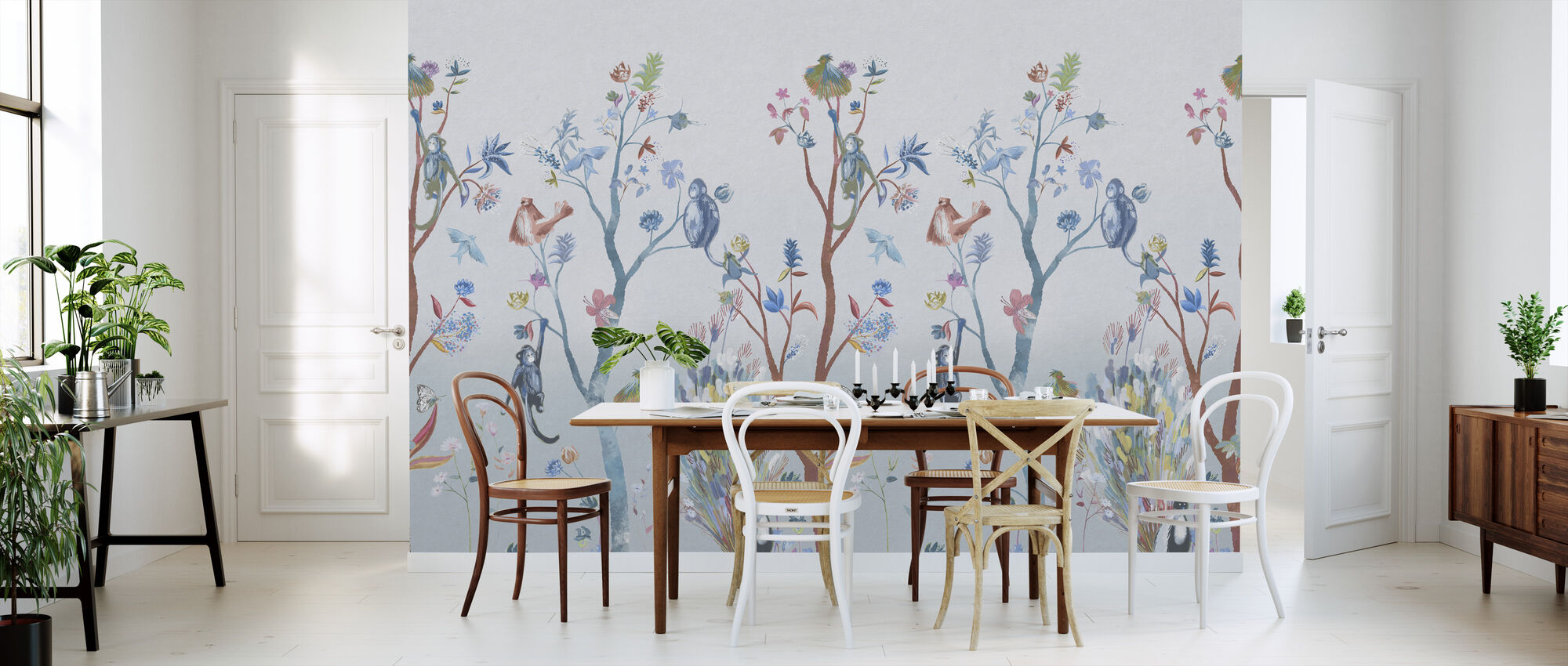 Kitsch Nature - Blue - Wallpaper - Kitchen