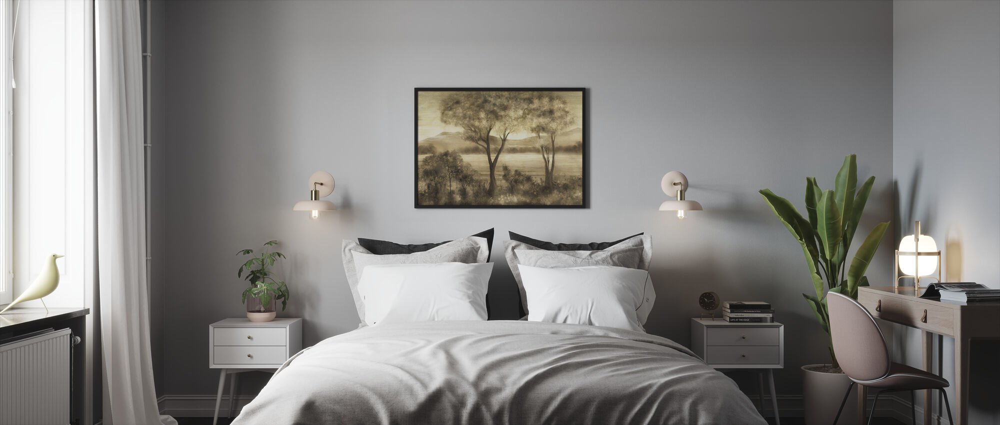 Lay of the Land - Cream - Framed print - Bedroom