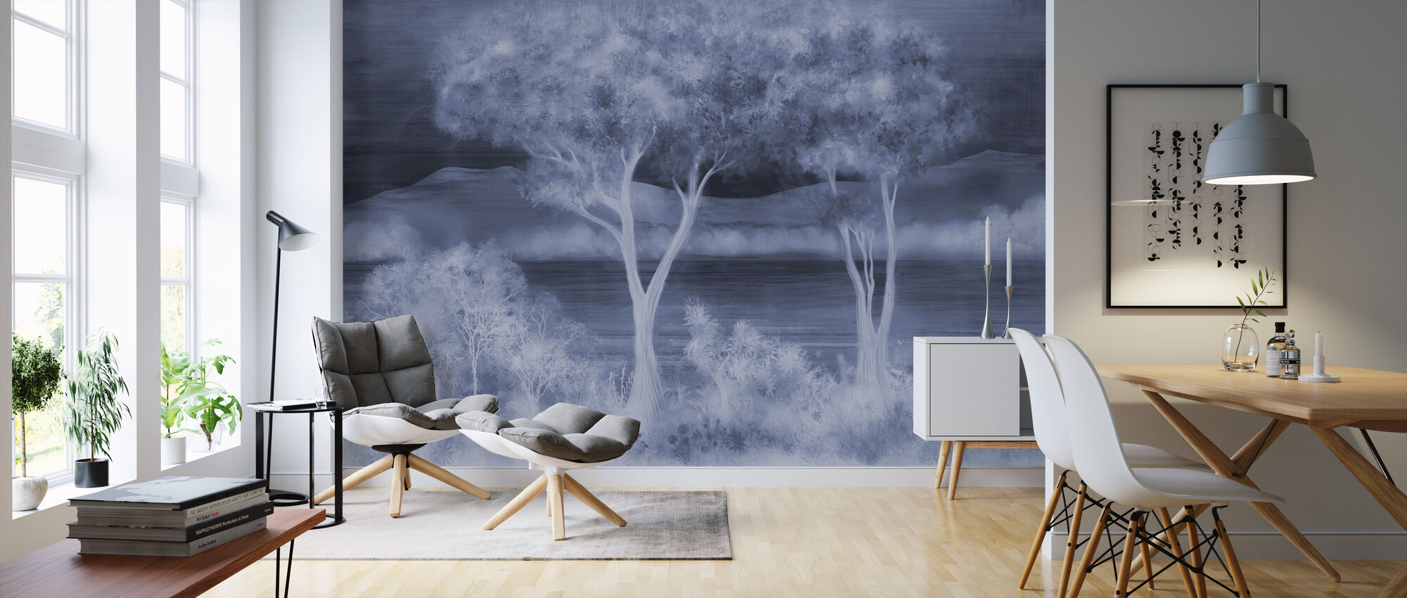 Lay of the Land - Cobalt - Wallpaper - Living Room