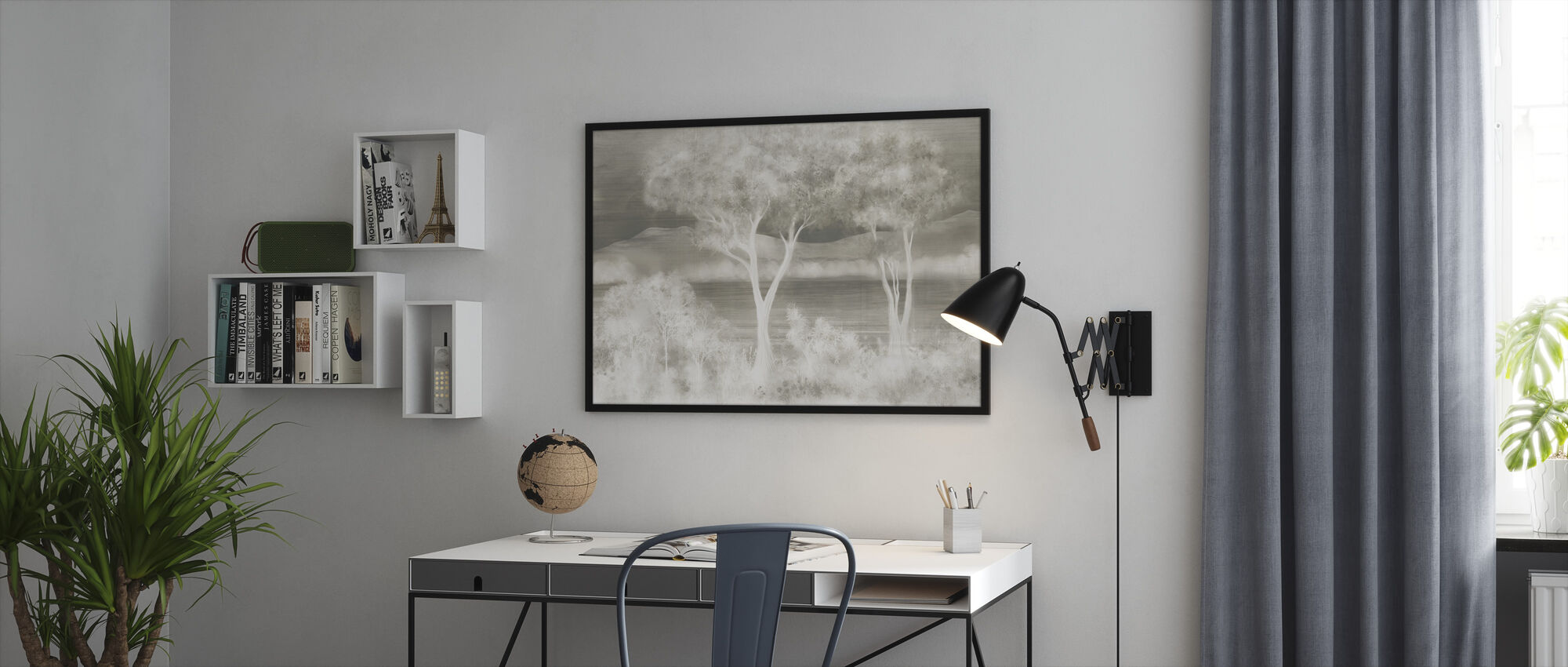 Lay of the Land - Silver - Framed print - Office