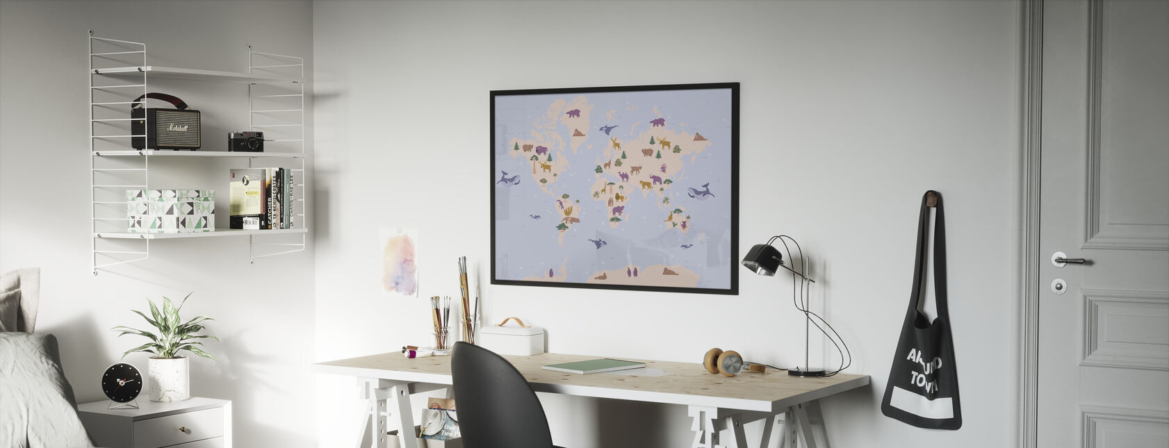Animal World Map - Framed print - Kids Room