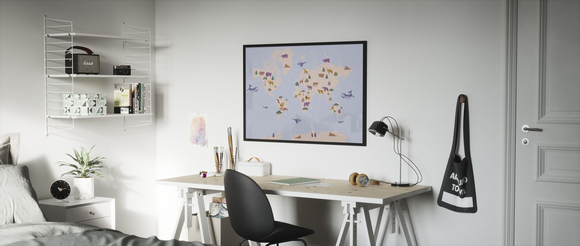 Animal World Map - Framed print - Kids Room