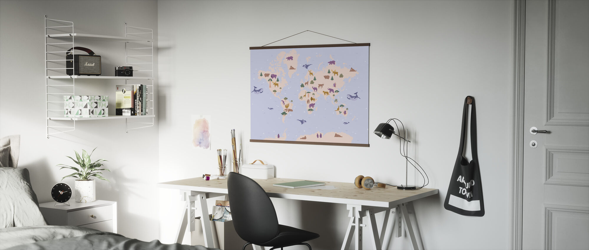 Animal World Map - Poster - Office