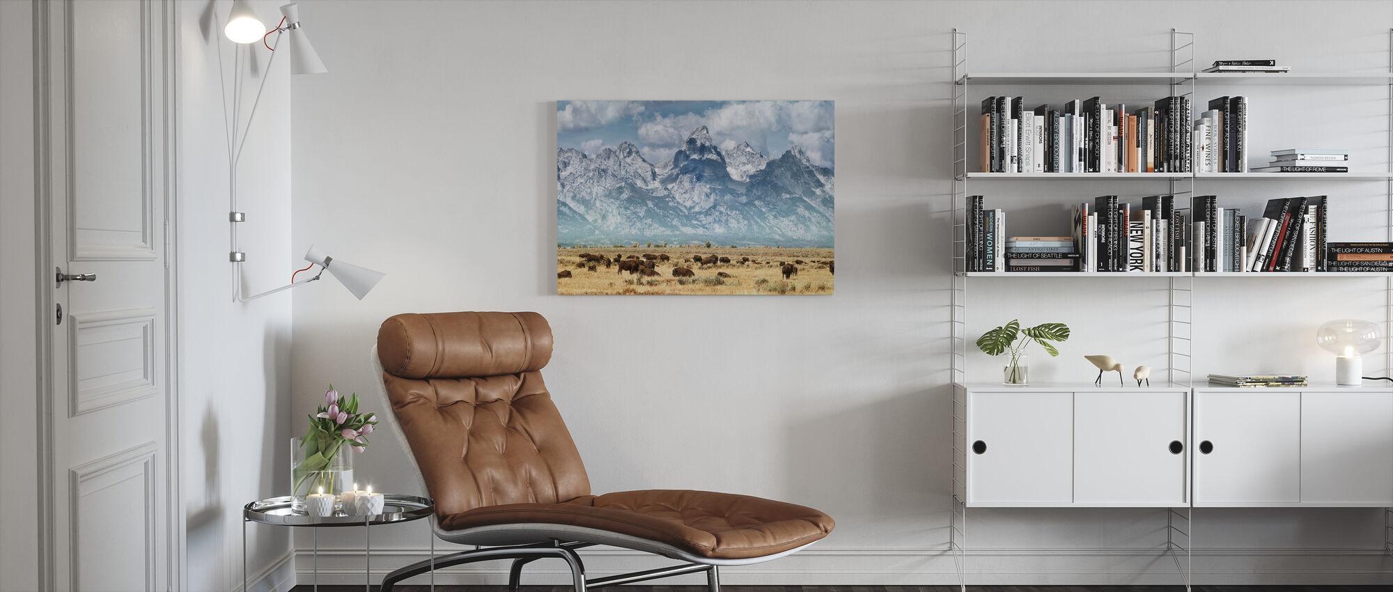 Bizons op de Prairie - Canvas print - Woonkamer