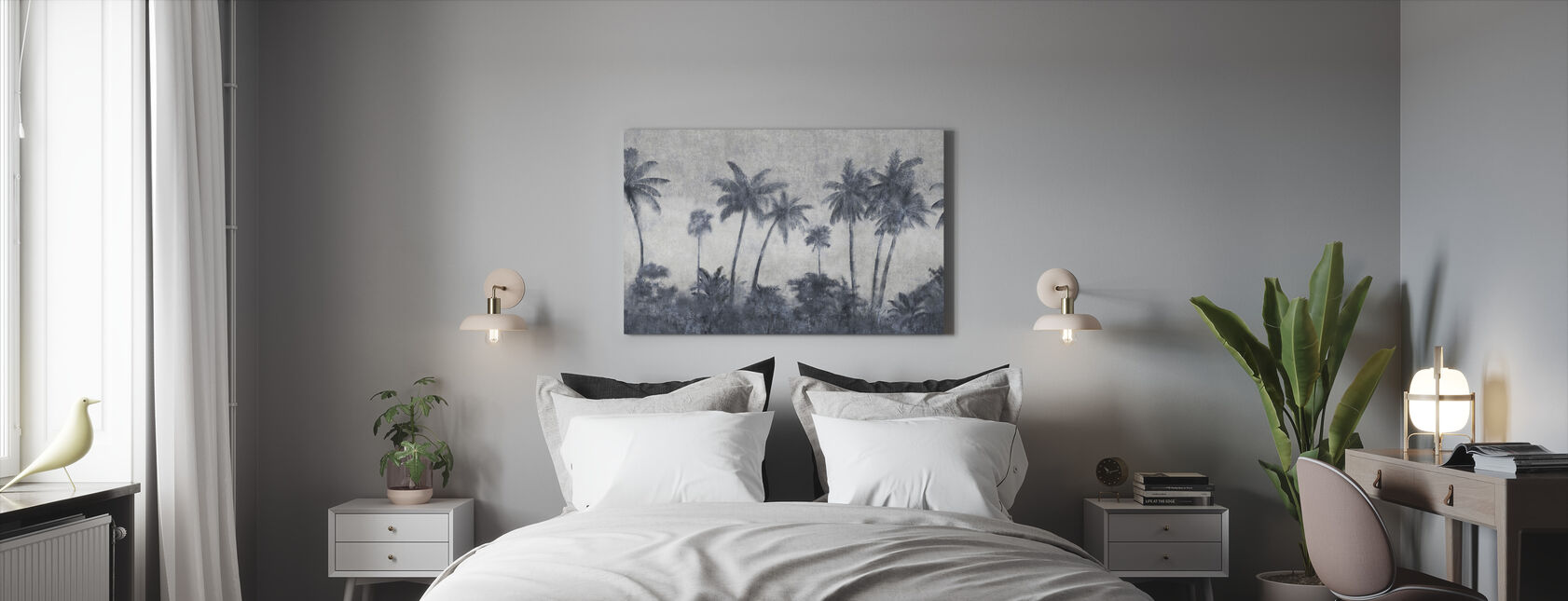 California Palmes on Concrete - Canvas print - Bedroom
