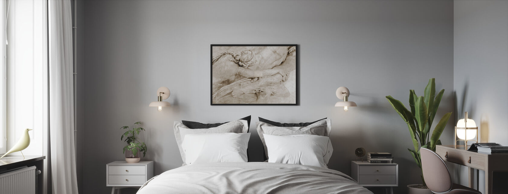 Of the Sculpture - Sepia - Framed print - Bedroom
