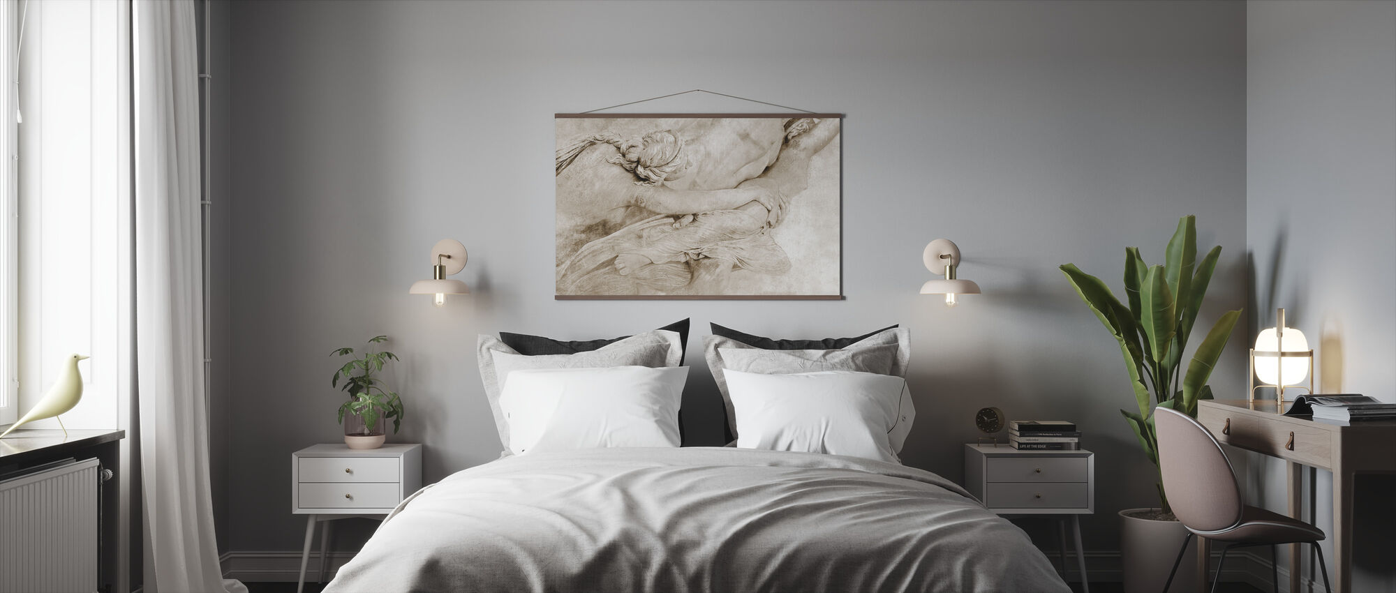 Of the Sculpture - Sepia - Poster - Bedroom