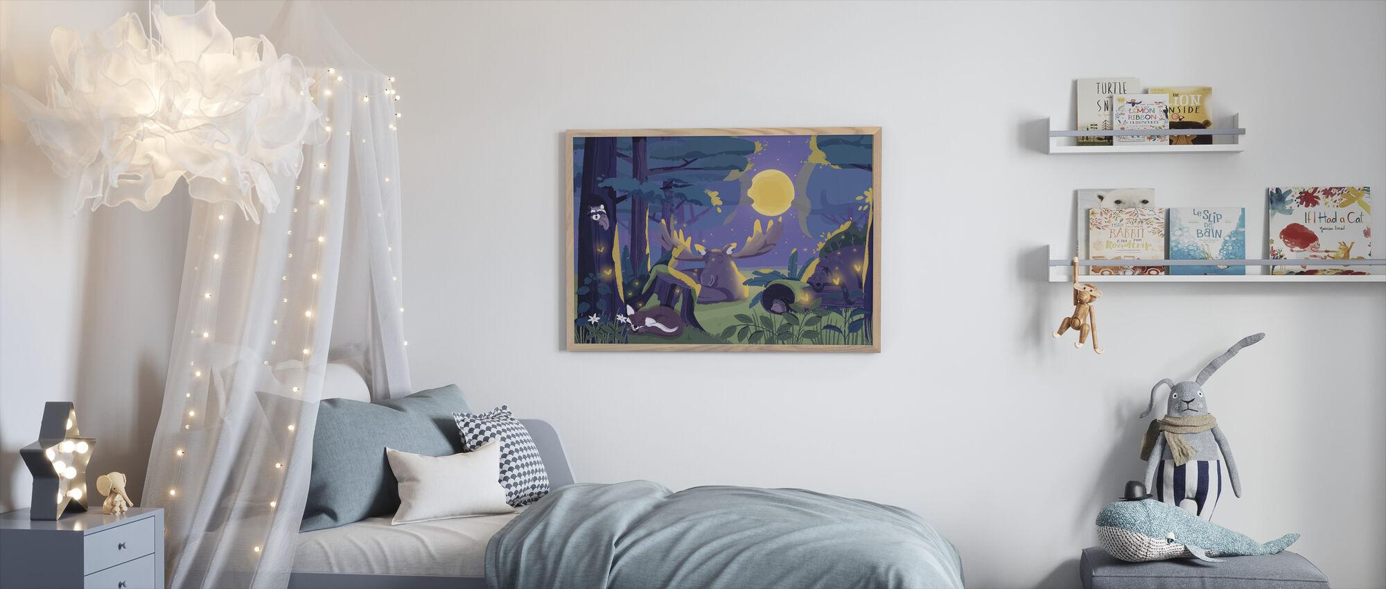 Søvnig skog - Innrammet bilde - Barnerom