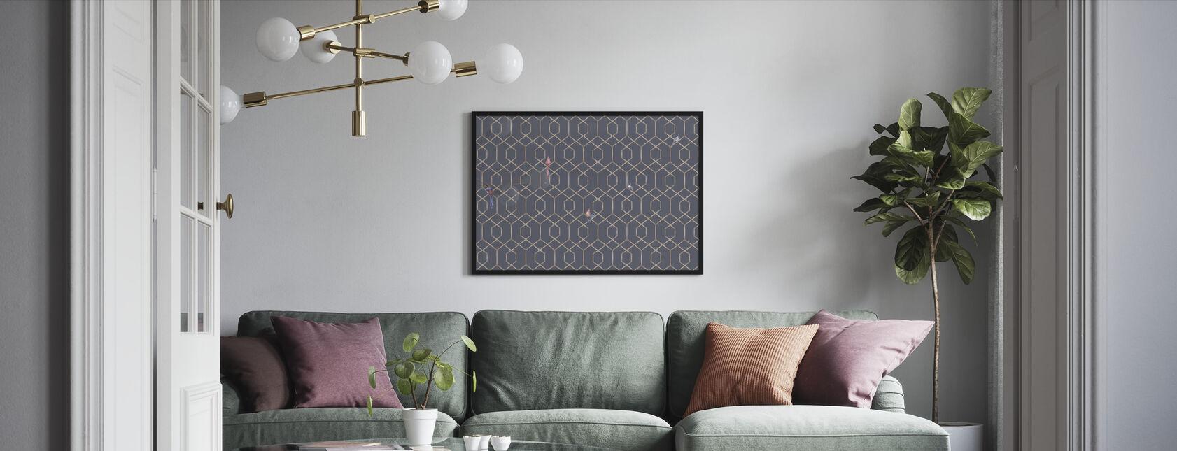 Scalet´s Bamboo Web - Ash Blue - Framed print - Living Room