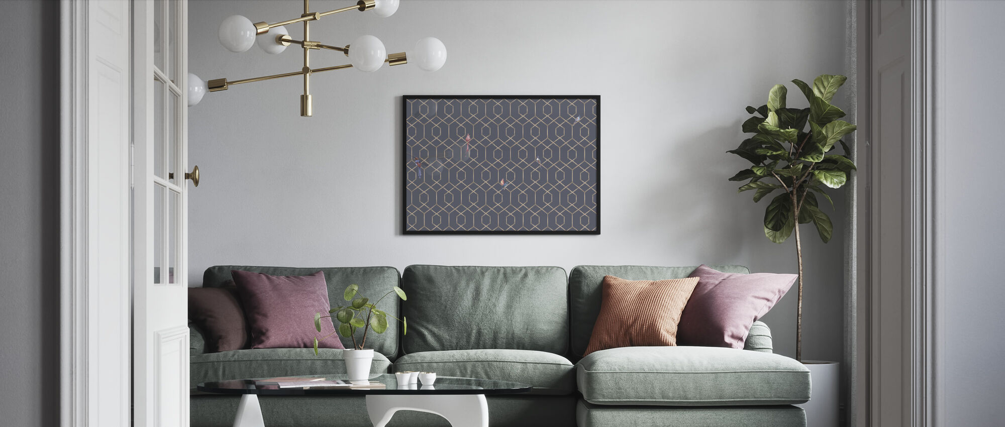 Scalet´s Bamboo Web - Ash Blue - Framed print - Living Room