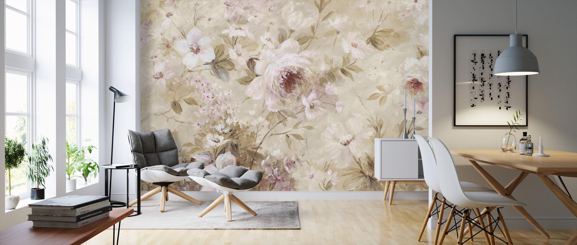 Floral Cream - Wallpaper - Living Room