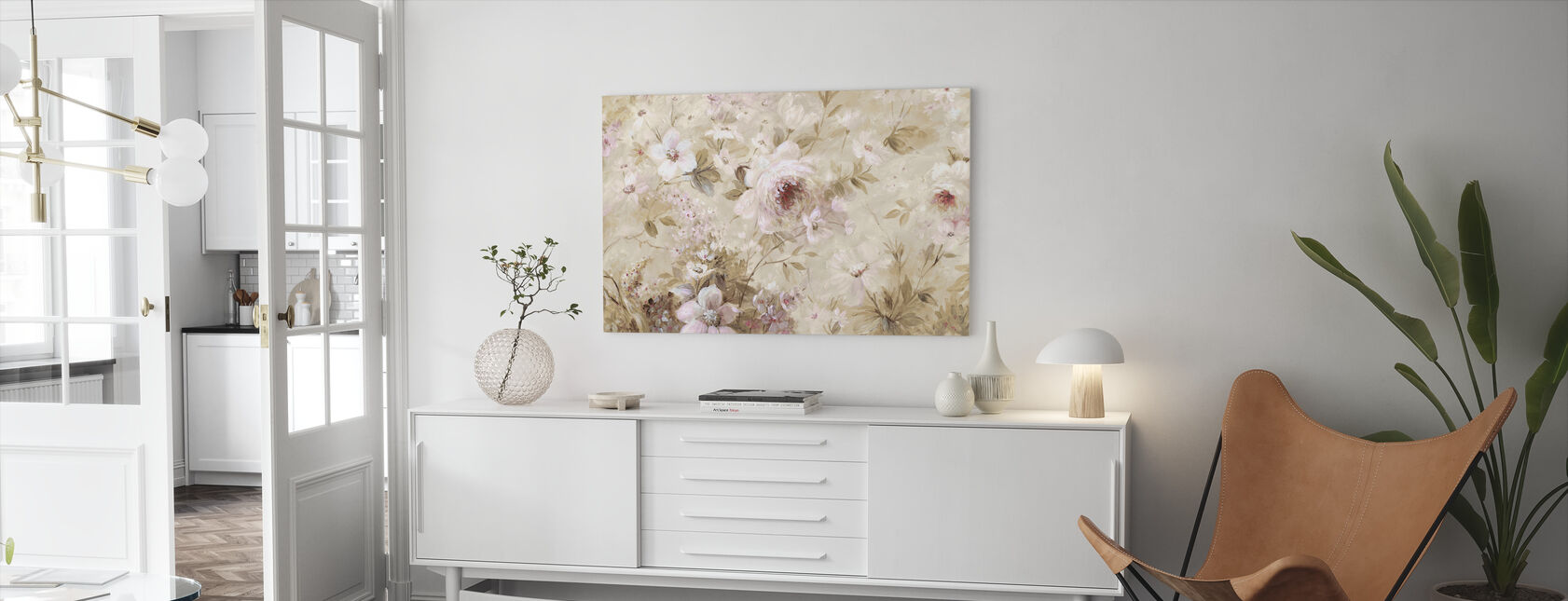 Floral Cream - Canvas print - Living Room