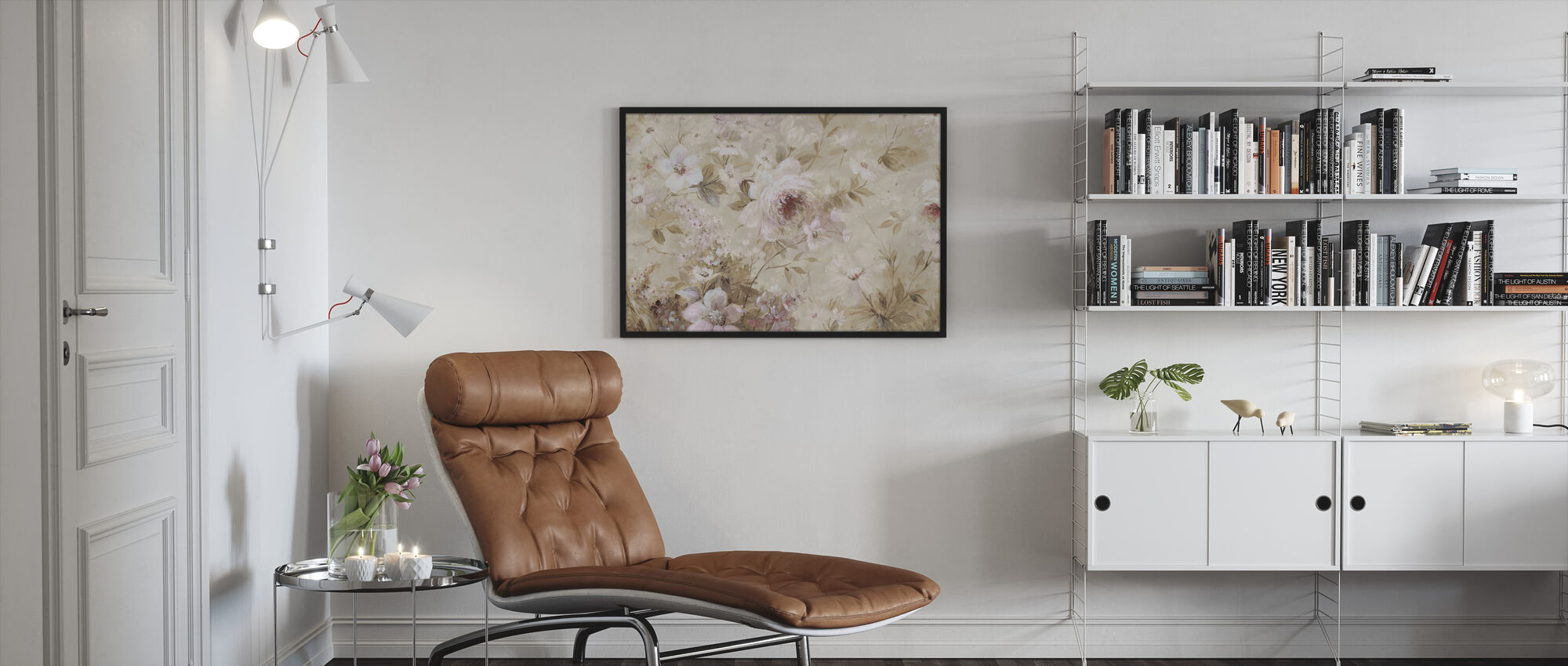 Floral Cream - Framed print - Living Room