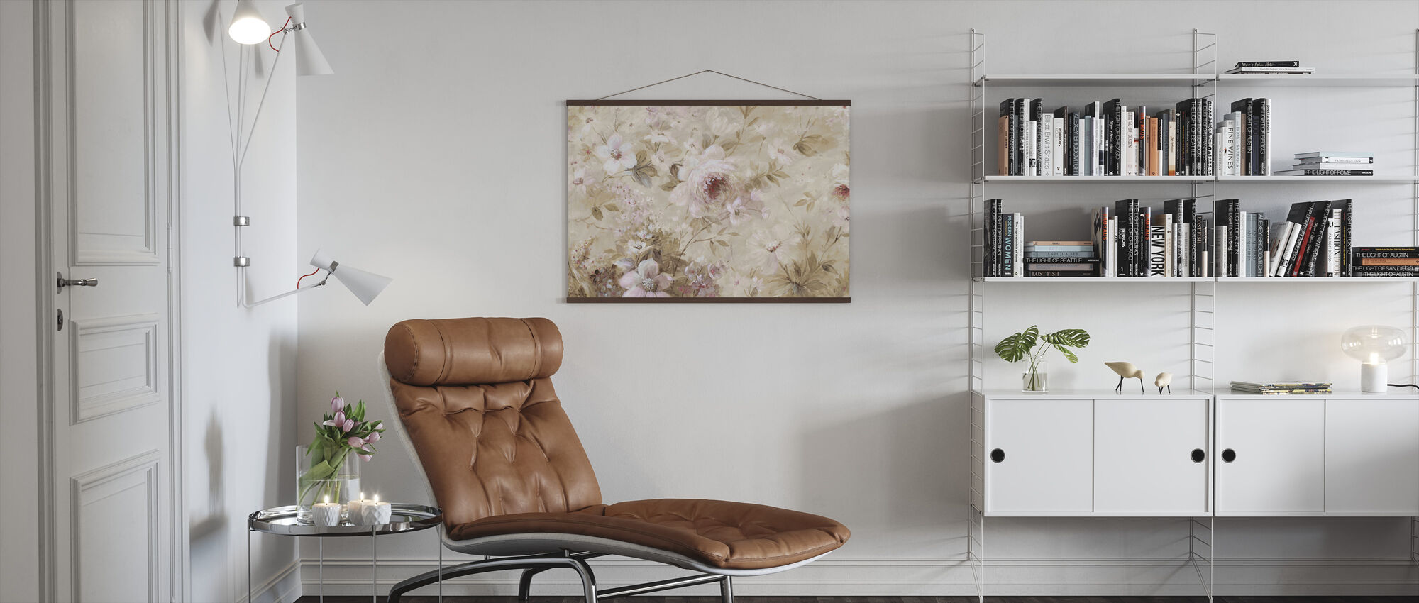 Floral Cream - Poster - Living Room