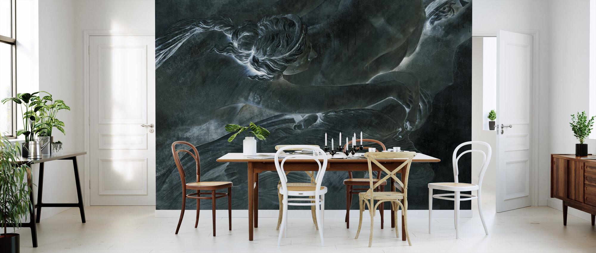 De la Sculpture - Dark Green - Wallpaper - Kitchen