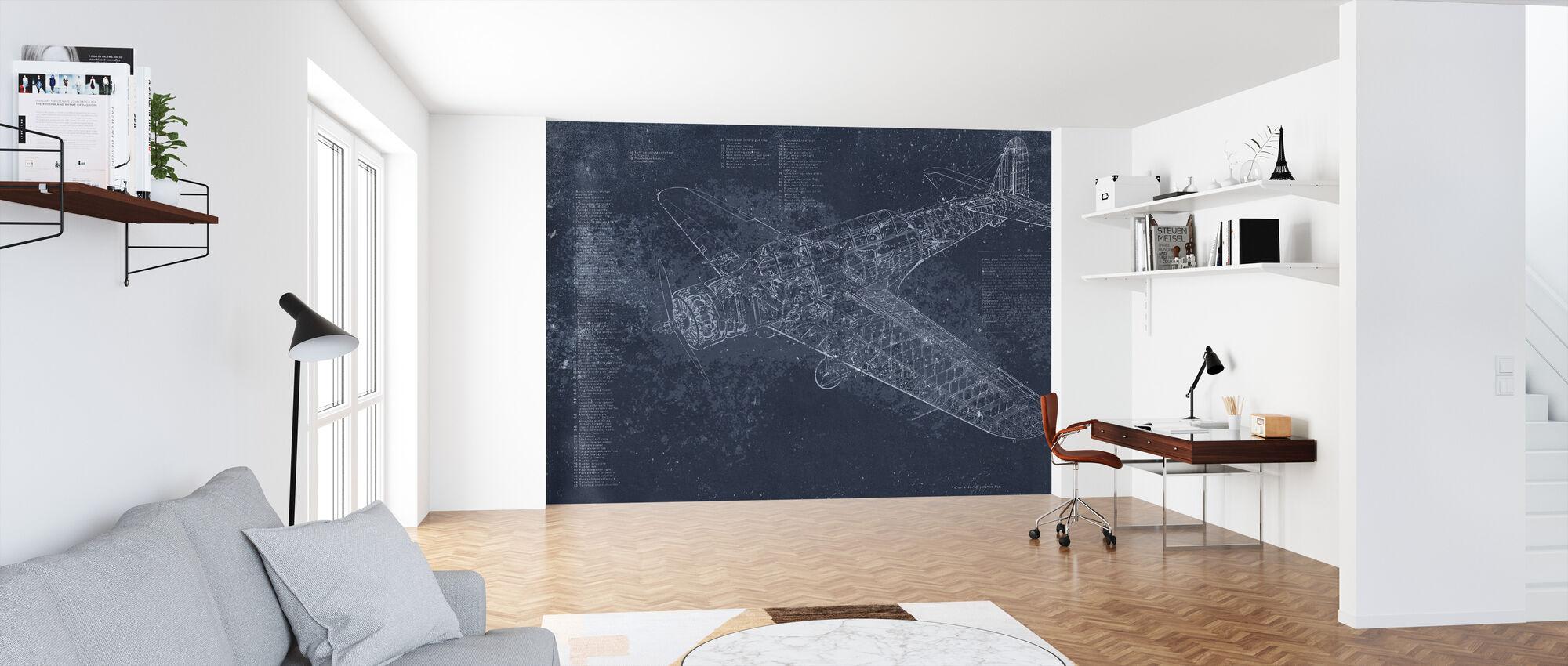 Retro Airplane - Dark Blue - Wallpaper - Office