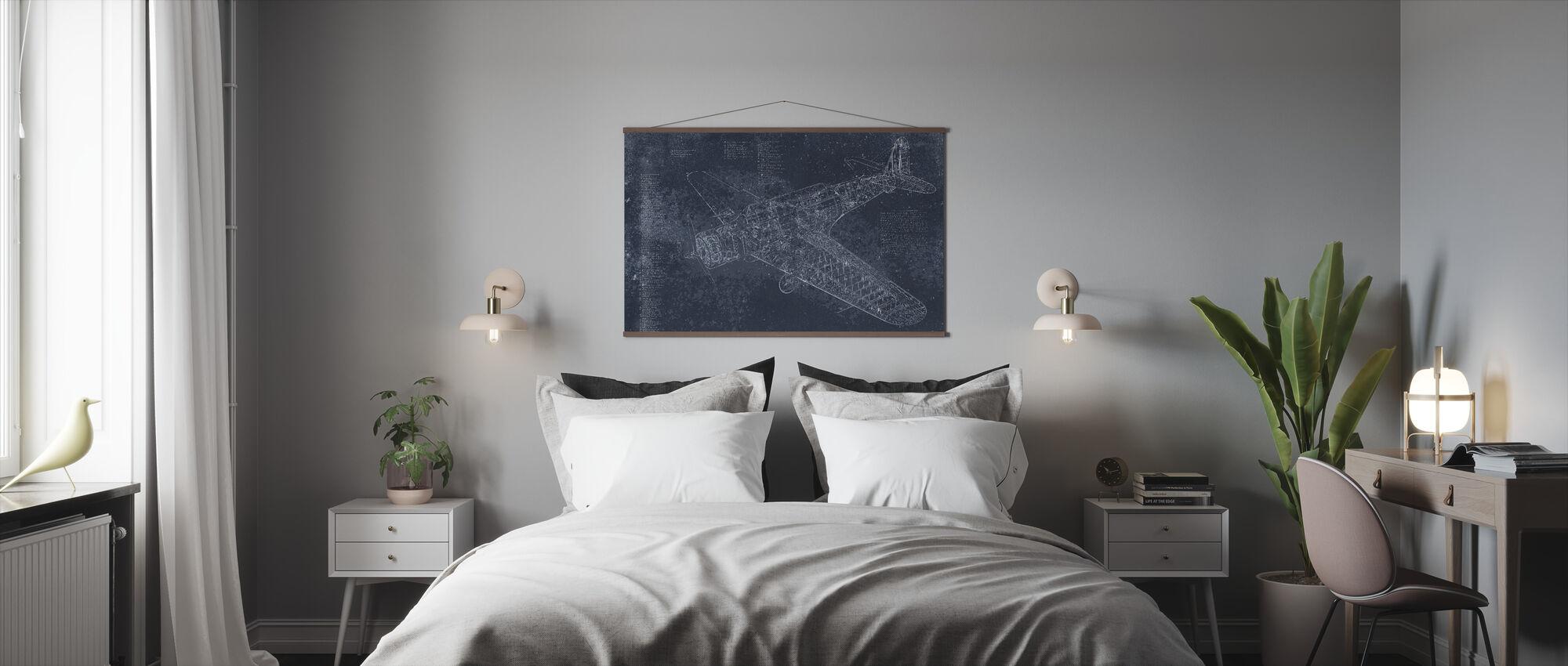 Retro Airplane - Dark Blue - Poster - Bedroom