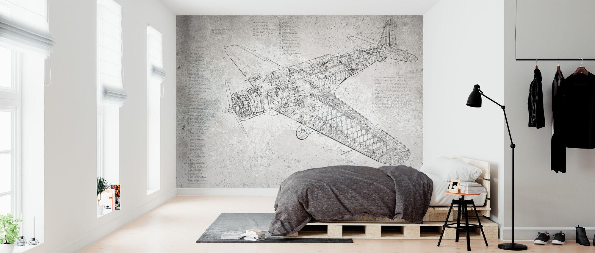 Retro Airplane - Wallpaper - Bedroom