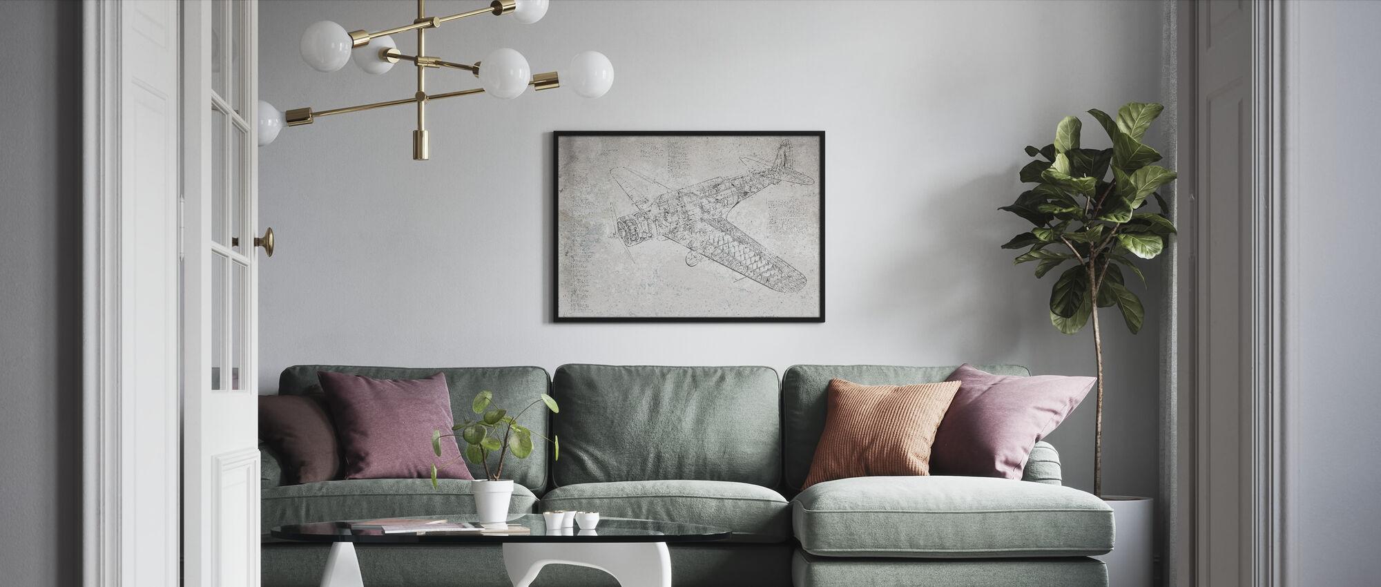 Retro Airplane - Framed print - Living Room