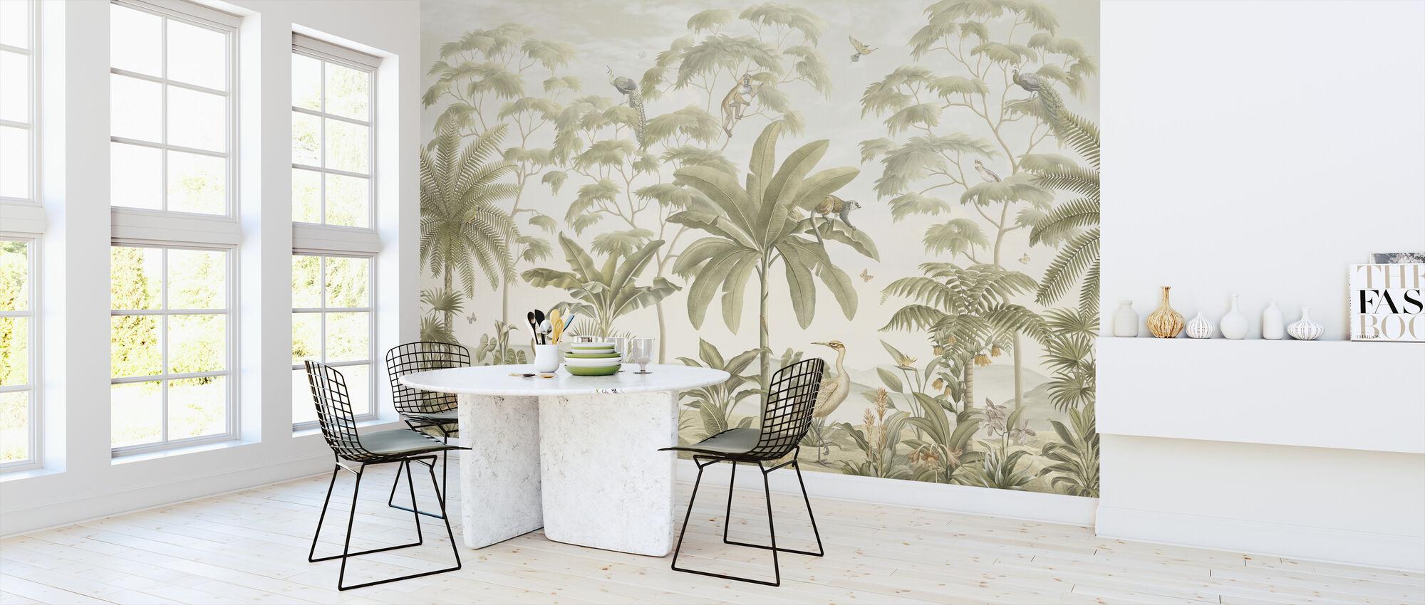 Tropisch Eden - Sepia - Behang - Keuken