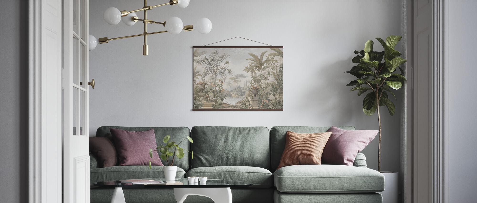 Tropical Patio - Sepia - Poster - Living Room